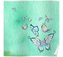 butterflies on a lite blue watercolor background Poster