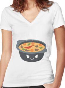 Hotpot Emoji Naughty and Cheeky Women's Fitted V-Neck T-Shirt