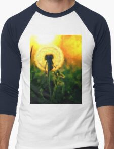 Dandelion Flower Sunset Sunrise Men's Baseball ¾ T-Shirt