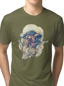 Сelestial fantasy.Hand draw  ink and pen, Watercolor, on textured paper Tri-blend T-Shirt