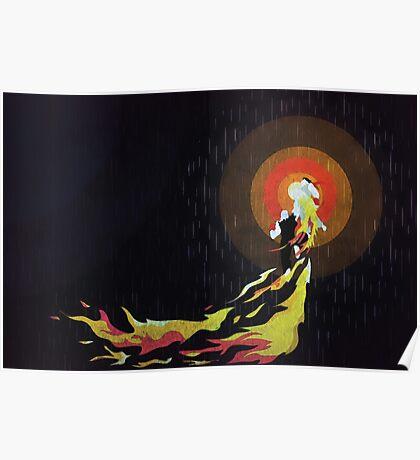 Street Fighter Ken Flaming Shoryuken Poster