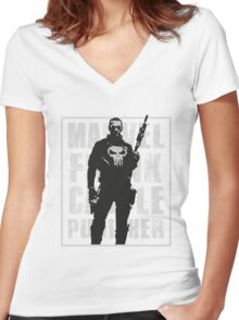 THIS IS WAR - PUNISHER 3 Women's Fitted V-Neck T-Shirt