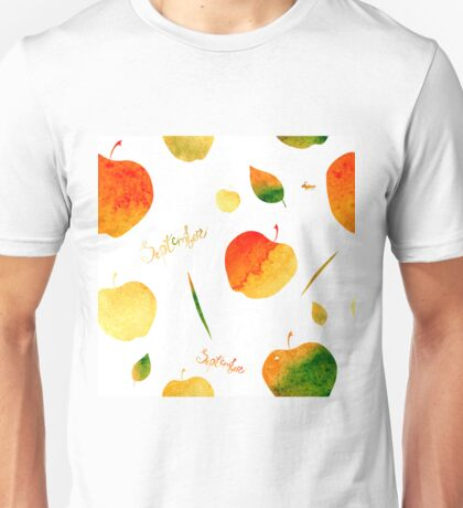 Watercolor apples and leaves Unisex T-Shirt