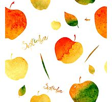 Watercolor apples and leaves Photographic Print