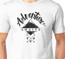 Adventure awaits you (Black on light) Unisex T-Shirt