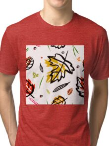 Pattern with autumn elements and templates Tri-blend T-Shirt