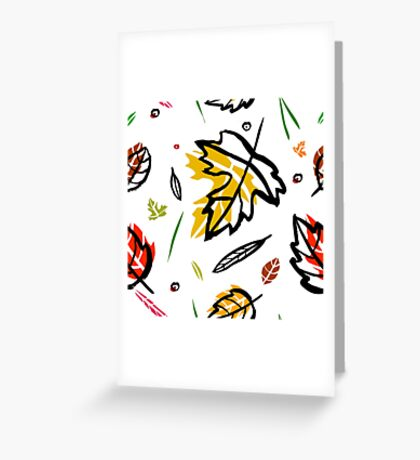 Pattern with autumn elements and templates Greeting Card