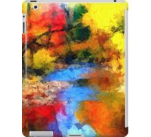 impressionist fall autumn landscape forest river song lake abstract  iPad Case/Skin