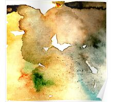 Watercolor texture ocher and clear blue Poster