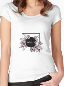 violet flowers and leaves in square frame Women's Fitted Scoop T-Shirt