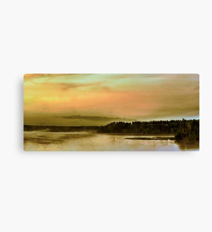 Sunset over Canadian Lake. Canvas Print