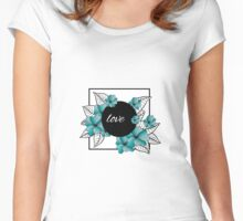 blue flowers and leaves in square frame Women's Fitted Scoop T-Shirt