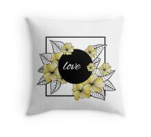 yellow flowers and leaves in square frame Throw Pillow