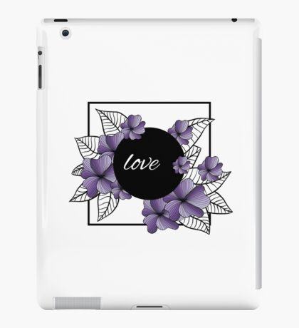 purple flowers and leaves in square frame iPad Case/Skin
