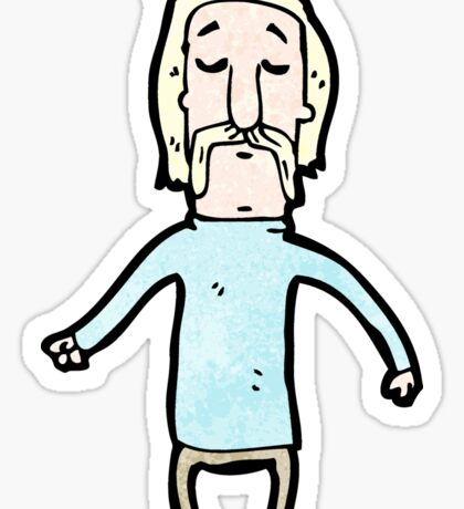 cartoon blond man with handlebar mustache Sticker