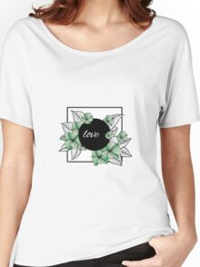 green flowers and leaves in square frame Women's Relaxed Fit T-Shirt
