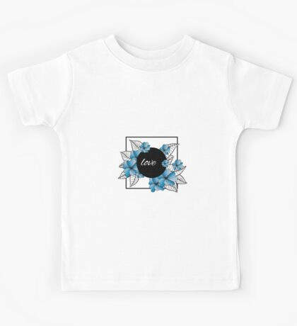 blue flowers and leaves in square frame Kids Tee
