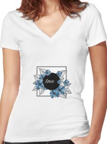 blue flowers and leaves in square frame Women's Fitted V-Neck T-Shirt