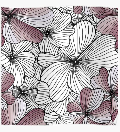 violet flowers pattern Poster