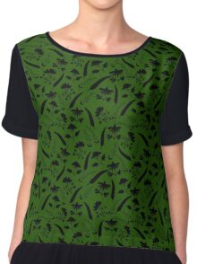 Natural elements silhouettes on green Chiffon Top