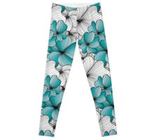 blue flowers pattern Leggings
