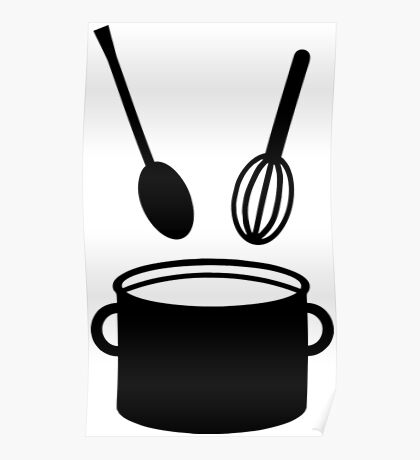 Cooking Pot - Spoon Funny Chef Shirts Poster
