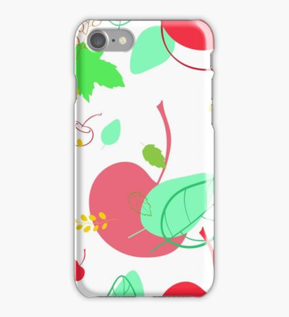 Pattern with buckthorn berries and cherries and leaves  iPhone Case/Skin