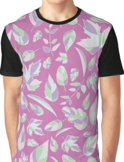 Pattern with leaves on a lilac background Graphic T-Shirt