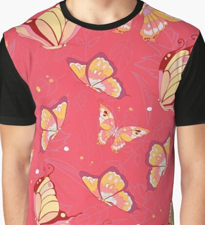 Butterfly Pattern on a bright red background Graphic T-Shirt