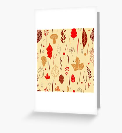 Vector seamless pattern with autumn elements  Greeting Card