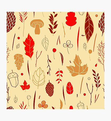 Vector seamless pattern with autumn elements  Photographic Print