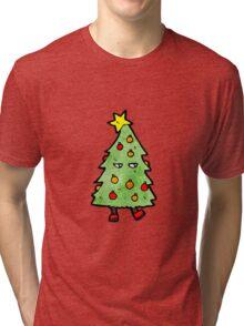 christmas tree cartoon character Tri-blend T-Shirt