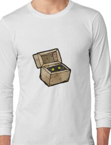 spooky monster in box cartoon Long Sleeve T-Shirt