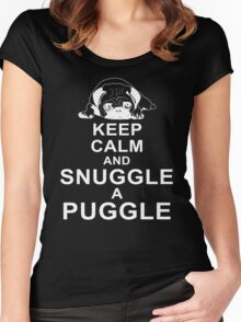 Keep Calm And Snuggle A Puggle Dog Lover Pug T-Shirt Women's Fitted Scoop T-Shirt