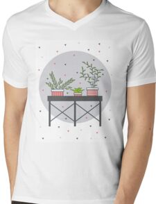 Table with cute plants Mens V-Neck T-Shirt