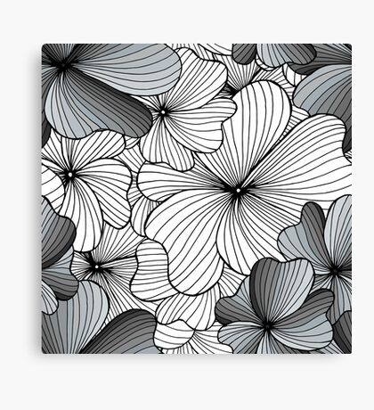 gray flowers pattern Canvas Print