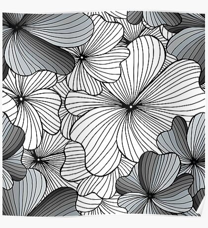 gray flowers pattern Poster