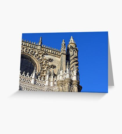 The Cathedral of Saint Mary of the See, Seville Cathedral, in Seville, Andalusia, Spain. Gothic style architecture in Spain. Greeting Card