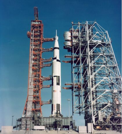The Apollo 8 space vehicle on the launch pad at Kennedy Space Center. Sticker