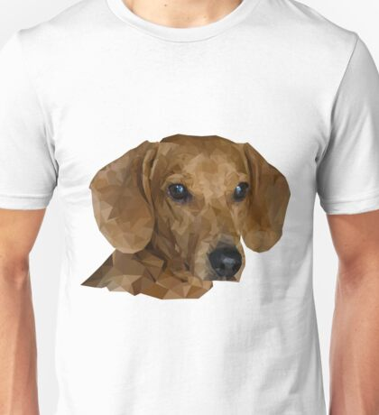 Pretty cool dachshund in low poly style. Low Polygon Dog for your design. Unisex T-Shirt
