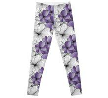 purple flowers pattern Leggings