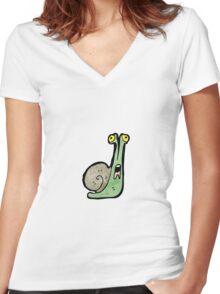 cartoon snail Women's Fitted V-Neck T-Shirt