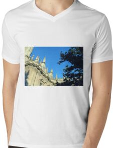 The Cathedral of Saint Mary of the See, Seville Cathedral, in Seville, Andalusia, Spain. Gothic style architecture in Spain. Mens V-Neck T-Shirt