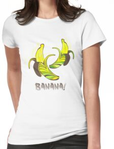 Banana in a retro style Womens Fitted T-Shirt