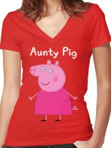 Aunty Pig Women's Fitted V-Neck T-Shirt