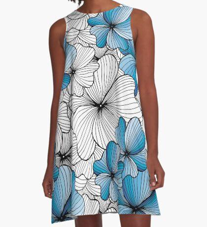 blue flowers pattern A-Line Dress
