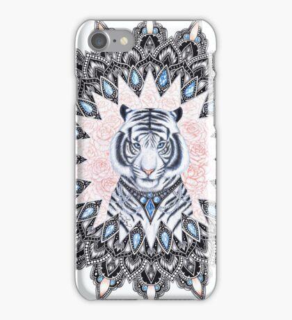 White Tiger Sapphire and Rose Mandala iPhone Case/Skin