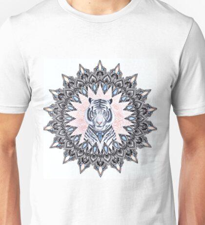 White Tiger Sapphire and Rose Mandala Unisex T-Shirt