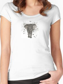 Ink and Brush Elephant Women's Fitted Scoop T-Shirt