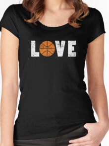 I Love Basketball Word Emoji Emoticon Graphic Tee Funny Illustrated Pun Words Women's Fitted Scoop T-Shirt